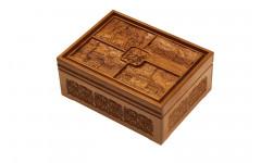 Набор покерный: 500 фишек, две колоды карт и кости в ларце из мореного дуба (Светлый)